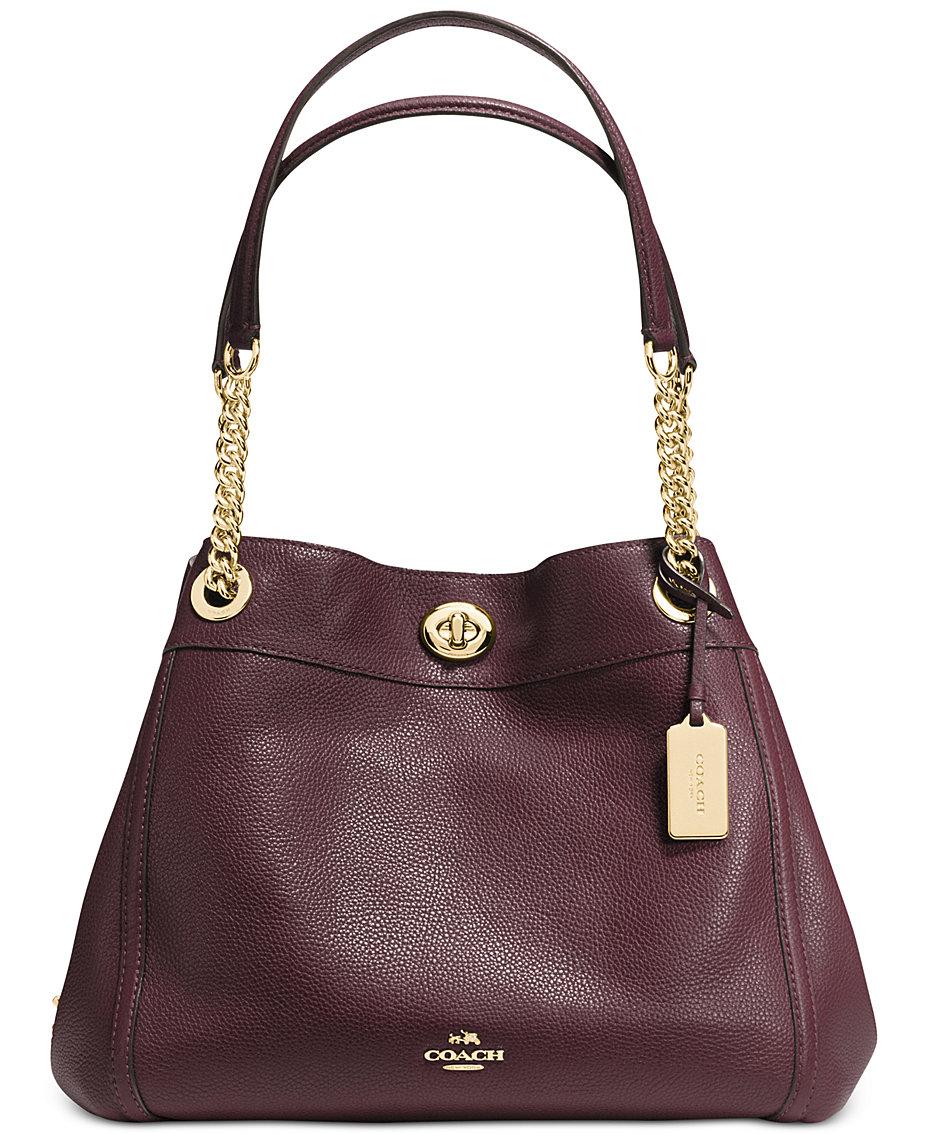 0d18655f6208 COACH Turnlock Edie Shoulder Bag in Pebble Leather   Reviews - Handbags    Accessories - Macy s