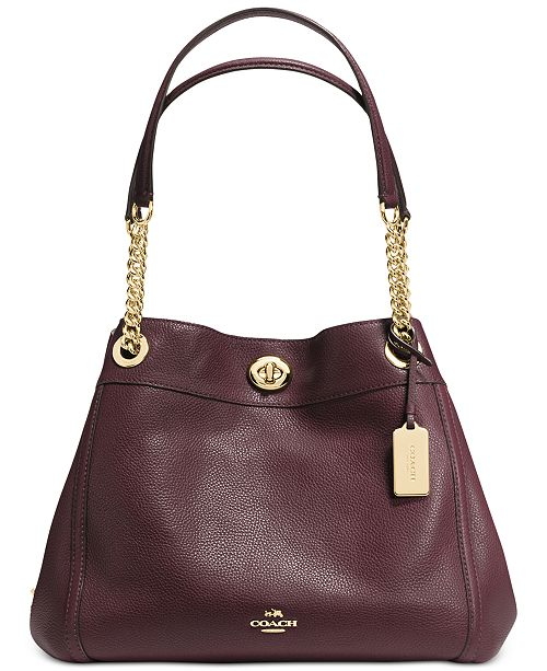 COACH Turnlock Edie Shoulder Bag in Pebble Leather   Reviews ... dfbf5c22ecb68