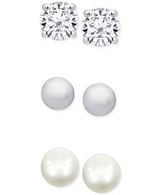 Children's 3-Pc. Set Cultured Pearl (3mm) and Cubic Zirconia Stud Earrings in Sterling Silver