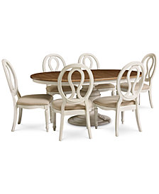 Sag Harbor Round Dining Furniture, 7-Pc. Set (Expandable Round Dining Pedestal Table & 6 Side Chairs)