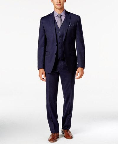 Tallia Men's Slim-Fit Blue Glen Plaid Vested Suit