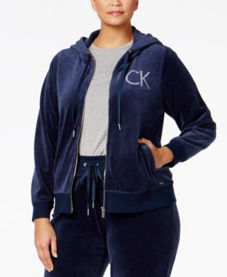 Calvin Klein Plus Size Zip-Front Velour Hooded Jacket