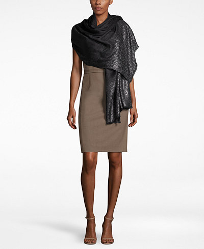 Calvin Klein Metallic Logo Wrap & Scarf in One