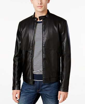 Calvin Klein Men's Perforated Faux-Leather Moto Jacket - Coats ...