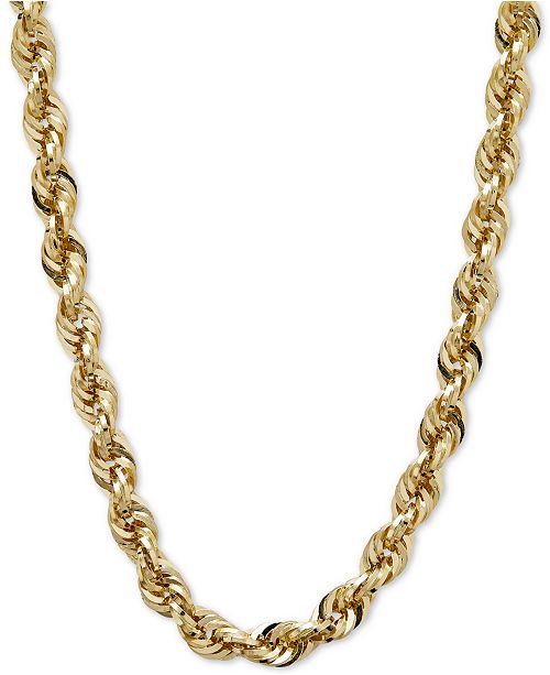 "Italian Gold 24"" Glitter Rope Necklace (5-1/2mm) in 14k Gold"