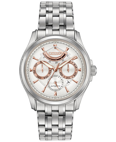 Citizen Men's Automatic Signature Grand Classic Stainless Steel Bracelet Watch 42mm NB5000-55A