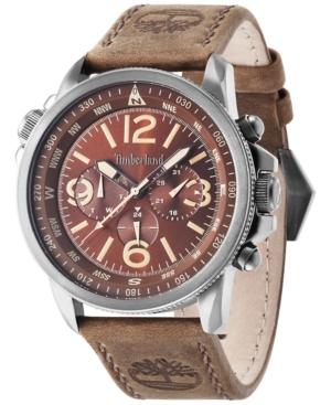 Timberland Men's Shermand Brown Leather Strap Watch 46x56mm TBL13910JSU12
