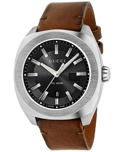 Gucci Men's Swiss GG2570 Brown Toscano Leather Strap Watch 44mmm YA142207