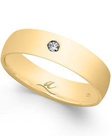 Diamond Accent 5MM Dome Wedding Band in 18k White Gold