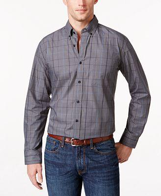 Tricots St Raphael Men's Big & Tall Windowpane Shirt