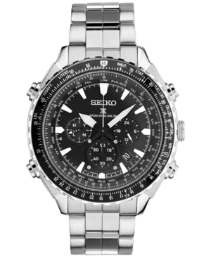 Seiko Men's Solar Chronograph Prospex Radio Sync Stainless Steel Bracelet Watch 48mm SSG001