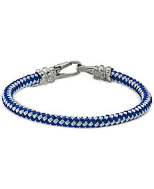 Esquire Men's Jewelry Blue and White Woven Bracelet in Stainless Steel, Created for Macy's
