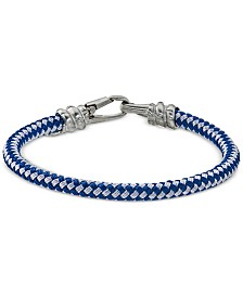 Mens jewelry accessories macys esquire mens jewelry blue and white woven bracelet in stainless steel created for macys aloadofball Gallery