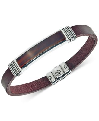 Red Tiger's Eye (45 x 15mm) Brown Leather Bracelet in Sterling Silver, Created for Macy's