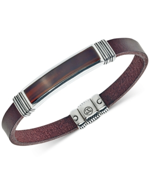 Red Tiger's Eye (45 x 15mm) Brown Leather Bracelet in Sterling Silver