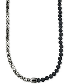Esquire Men's Jewelry Lava Bead Chain Necklace in Stainless Steel, Created for Macy's