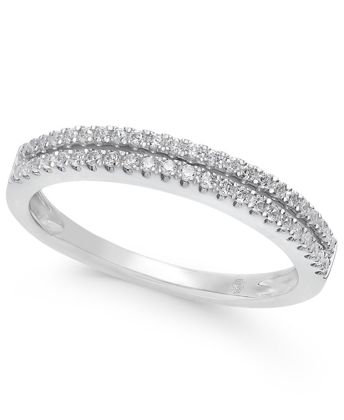 Macy's - Diamond Double Row Band in (1/4 ct. t.w.) in 14k White, Yellow or Rose Gold