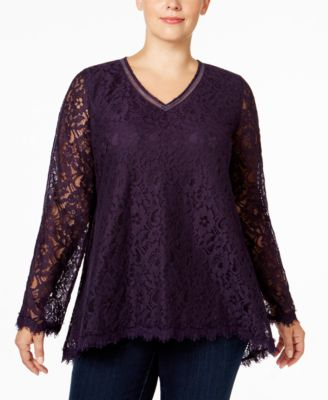 Style & Co. Plus Size Lace Swing Top, Only at Macy's