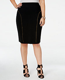 Poetic Justice Trendy Plus Size Zipper-Trim Pencil Skirt