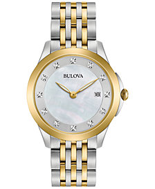 Bulova Women's Diamond Accent Two-Tone Stainless Steel Bracelet Watch 36mm 98P161