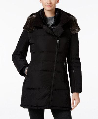 Calvin Klein Faux Fur Trim Asymmetrical Water Resistant