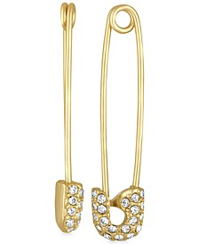 Gold-Tone Pavé Safety Pin Drop Earrings