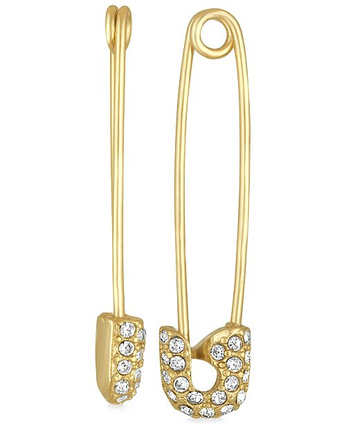 Gold Tone Pavé Safety Pin Drop Earrings 2 Reviews Main Image