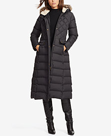 Lauren Ralph Lauren Faux-Fur Hooded Mix Quilted Maxi Coat
