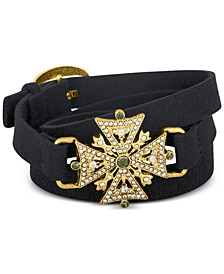 Gold-Tone Pavé Faux Suede Wrap Bracelet