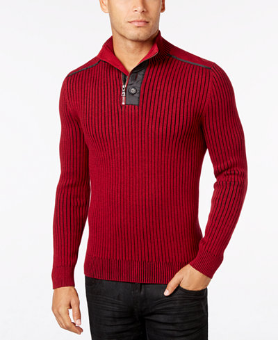 INC International Concepts Men's Quarter-Zip & Button Ribbed ...