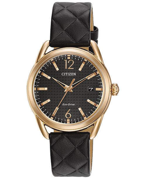 e504e4f91 ... Citizen Drive from Citizen Eco-Drive Women's Black Quilted Leather  Strap Watch 34mm FE6083- ...