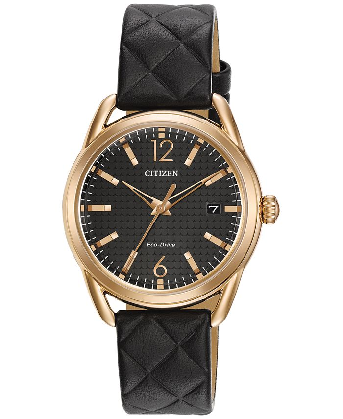 Citizen - Women's Drive Black Quilted Leather Strap Watch 34mm FE6083-13E