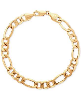 Italian Gold Mens Figaro Link Bracelet in 10k Gold Bracelets