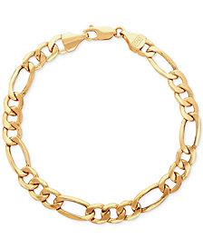 Italian Gold Men S Figaro Link Bracelet In 10k