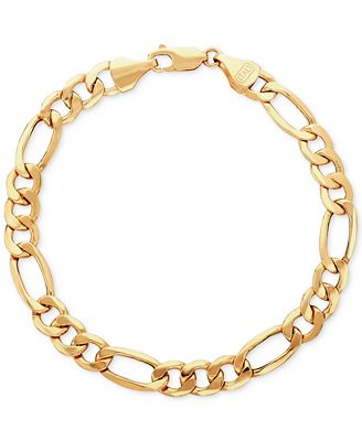 Fine Jewelry Made In Italy Mens 9 Inch 10K Gold Link Bracelet P7W3Yc