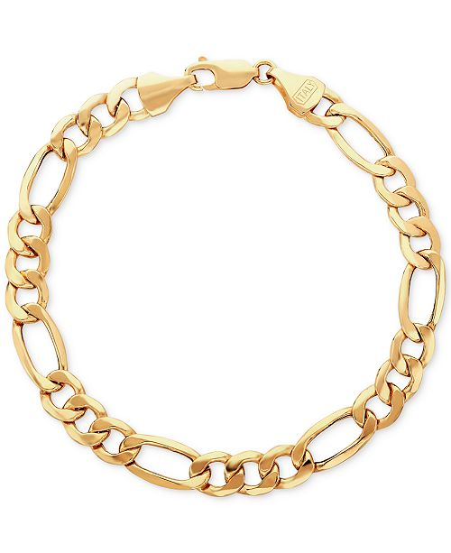 Italian Gold Men S Figaro Link Bracelet In 10k Gold Reviews Bracelets Jewelry Watches Macy S