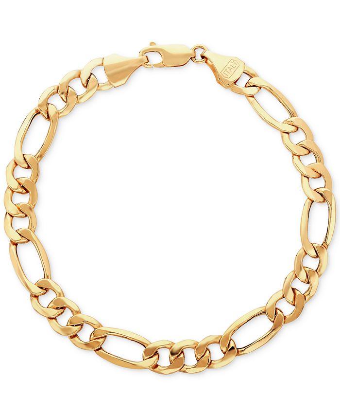 Italian Gold - Men's Figaro Link Bracelet in Italian 10k Gold