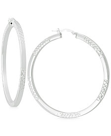 Textured Square-Edge Hoop Earrings in Sterling Silver