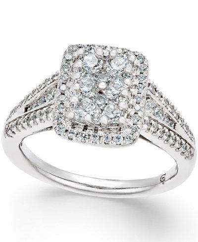 diamond square cluster engagement ring 1 ct tw in 14k white gold macys - Macys Wedding Rings