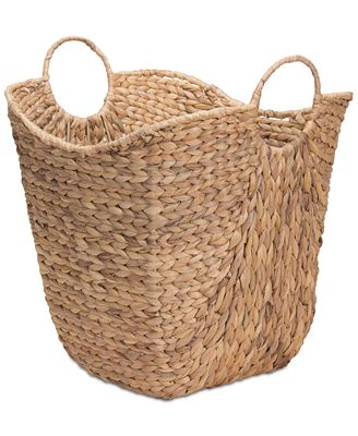 Household Essentials Tall Water Hyacinth Wicker Basket with Handles