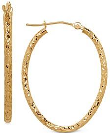 Oval Tube Hoop Earrings in 10k Gold, 1 3/8 inch