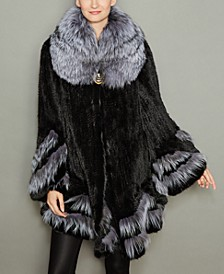 Fox-Fur-Trim Knitted Mink Fur Coat