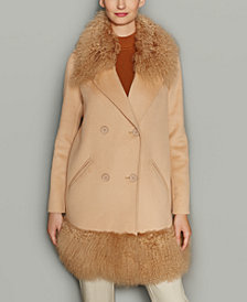 The Fur Vault Tibetan Lamb Fur-Trim Wool-Blend Coat