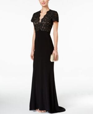 1930s Style Evening Dresses Betsy  Adam Lace Cutout-Back Gown $239.00 AT vintagedancer.com