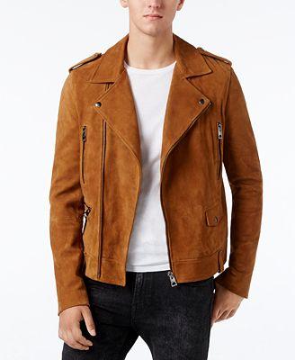 GUESS Men's Heavy Suede Biker Jacket - Coats & Jackets - Men - Macy's