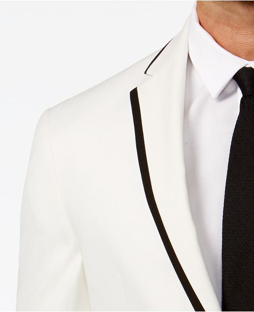 4476eafb1c718 Kenneth Cole Reaction Slim-Fit White with Black Trim Dinner Jacket ...