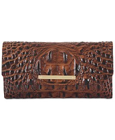 Brahmin Melbourne Soft Checkbook Embossed Leather Wallet
