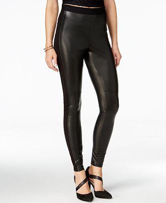 Hue Paneled Faux-Leather Leggings - Handbags & Accessories - Macy's