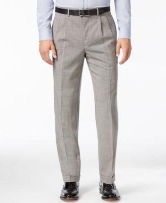 Check 100% Wool Pleated Dress Pants
