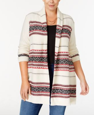 Style & Co. Plus Size Jacquard Open Cardigan, Only at Macy's